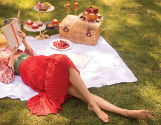 Lady in a red dress reclining on a picnic blanket next to a basket of treats