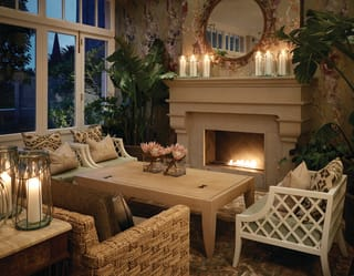 fireplace, candles and chairs