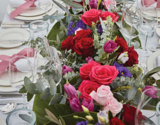 a table decorated with flowers