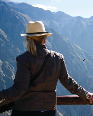 Lady in a brown leather jacket and Panama hat watching flying condors