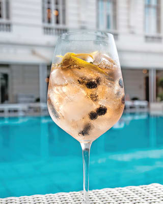 Cocktail glass on a poolside