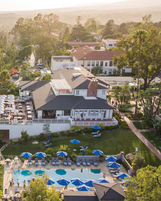 Aerial view of a hilltop luxury hotel in Santa Barbara