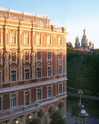 Exterior shot of Grand Hotel Europe on a sunny evening