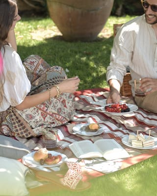 A couple on a picnic blanket under a tree on a sunny day