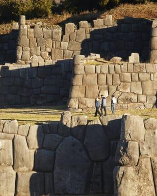 Rows of ancient Incan walls near Machu Picchu