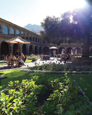 Leafy garden courtyard of an ancient Peruvian monastery