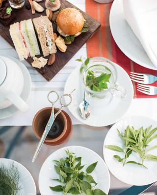 Birds-eye-view of freshly cut herbs on plates