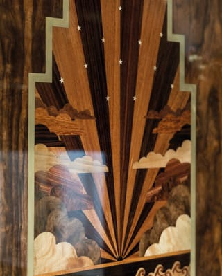 Detail of marquetry on the wall