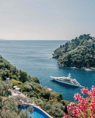 Luxury yacht sailing from Portofino harbour