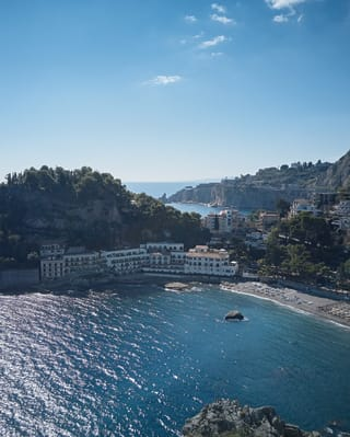 aerial view of villa sant'andrea and the beach